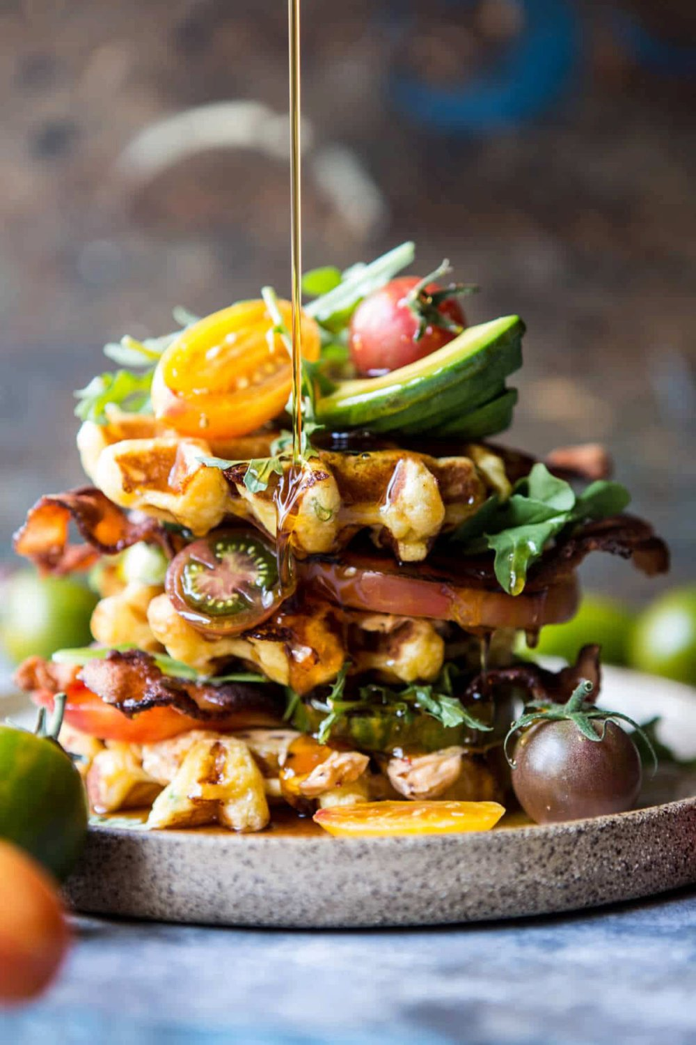 Cheddar Cornbread Waffle BLT with Chipotle Butter